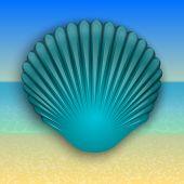 foto of beach shell art  - Vector abstract blue shell illustration on the summer sea beach - JPG