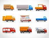 stock photo of ice-cream truck  - Realistic truck lorry transport van auto set isolated vector illustration - JPG
