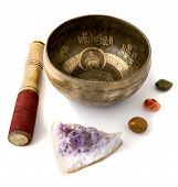 pic of gem  - Tibetian singing bowl and some gem stones isolated on white - JPG