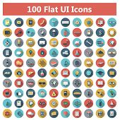 pic of symbol  - Set of modern icons in flat design with long shadows and trendy colors for banners - JPG