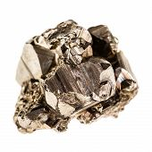 stock photo of iron pyrite  - macro shot of pyrite mineral isolated over a pure white background - JPG