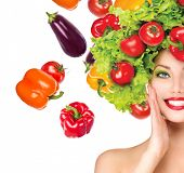 image of vegan  - Beauty girl with Vegetables hair style - JPG