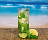 stock photo of mojito  - Glass with a mojito - JPG