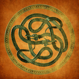 stock photo of serpent  - Green Serpent Celtic Knot on an old parchment document - JPG