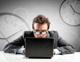 stock photo of nerd glasses  - Internet addiction concept with clock in the glasses - JPG
