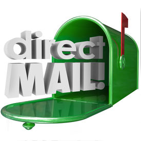 foto of mailbox  - Direct Mail words in 3d letters coming out of a green metal mailbox advertising  - JPG