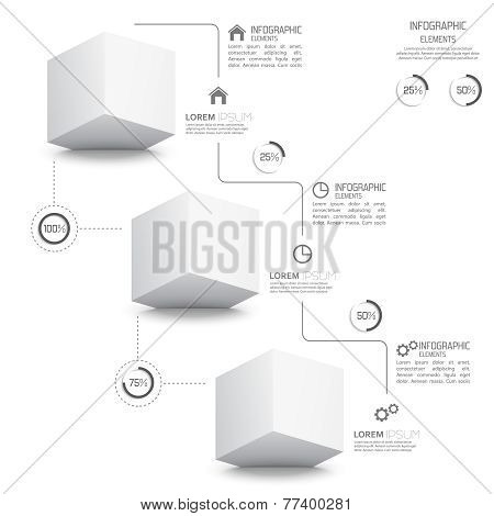 Modern template with monochromatic volume cube elements of infog