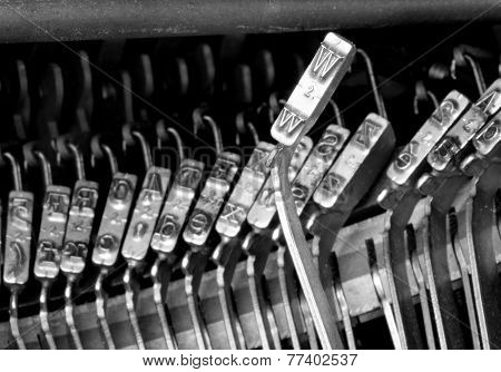 W Hammers For Writing With An Ancient Manual Typewriter