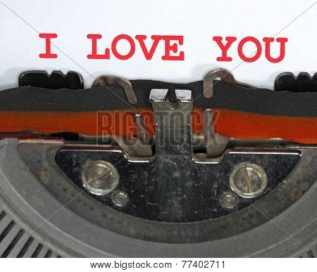 Typewriter Types I Love You Closeup
