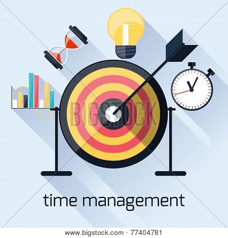 Time management, timing concept in flat design