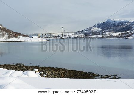 Tjeldsund suspension road Bridge, Troms county, Norway.