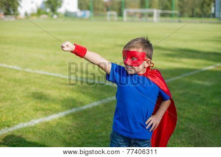 Superhero Standing With Arm Raised And Calling