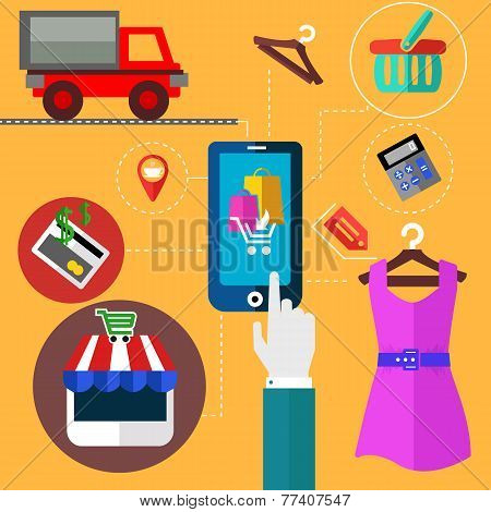 Internet shopping and mobile banking concept