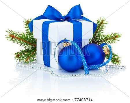 White Box Tied Blue Ribbon Bow, Pine Tree Branch And Two Christmas Balls Isolated On White Backgroun