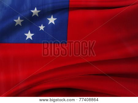 Closeup of silky Samoan flag