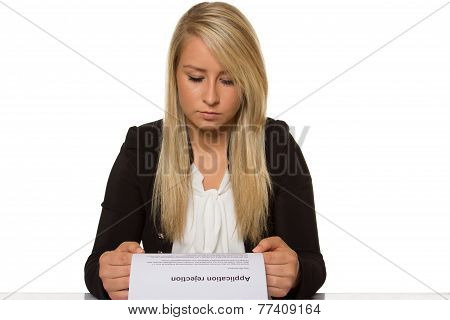 Young Woman Got A Job Application Rejection A Looks Astonished