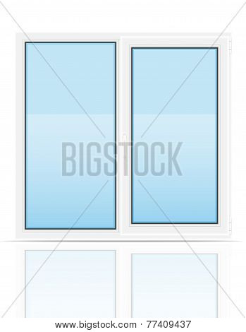 Plastic Transparent Window View Indoors Vector Illustration
