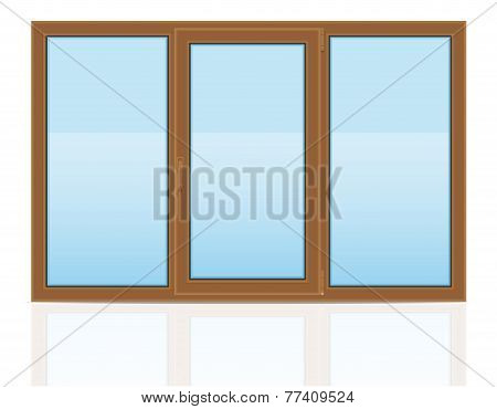 Brown Plastic Transparent Window View Indoors Vector Illustration