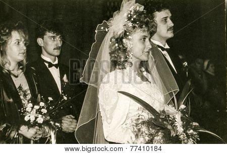 POLAND, CIRCA 70s: vintage photo of wedding ceremony