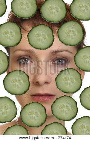 woman face cucumber