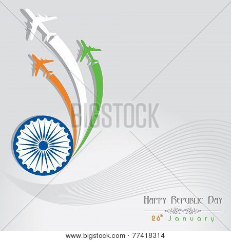 Republic Day greeting with airplane stock vector