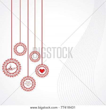 Valentine greeting with hanging designs stock vector