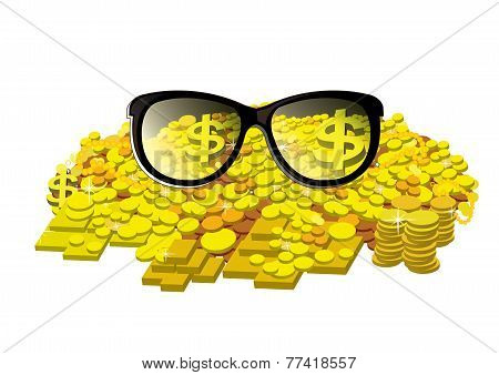 Glasses with gold coin and bullion