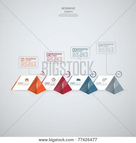 Modern template with glossy pyramids and strips of paper