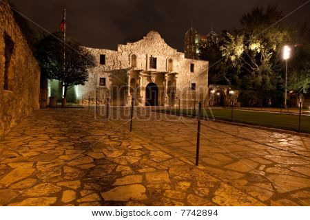 The Historic Alamo Mission at night