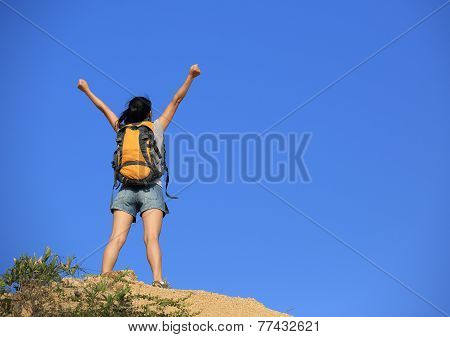 young woman hiker hiking outdoor