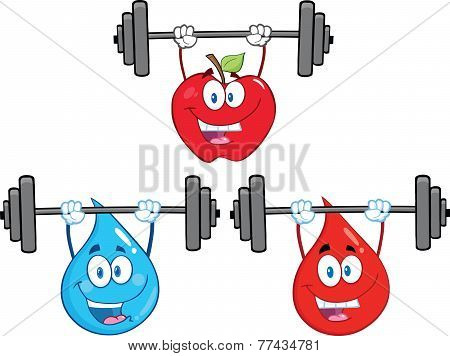 Cartoon Character Lifting Barbell. Collection Set