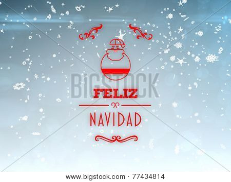 Feliz navidad banner against blue design with snowflakes
