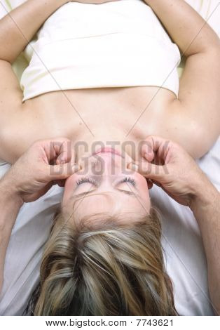 Young Woman Getting Massage Therapy