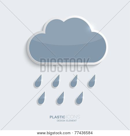 Plastic icon clouds with rain drops