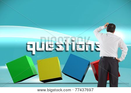 The word questions and mature businessman looking and considering against futuristic bright blue background