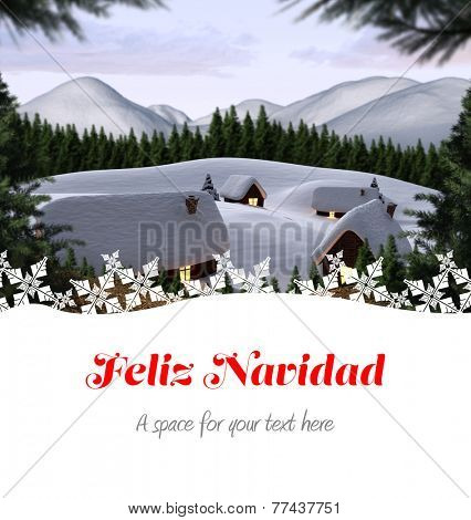 Feliz navidad against cute village in the snow