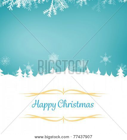 Composite image of christmas card against fir tree forest silhouette over blue