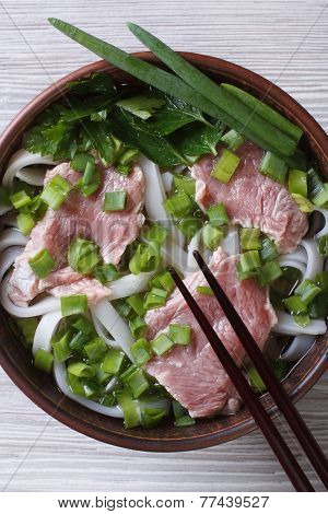 Asian Soup Pho Bo Close-up. Top View Of The Vertical