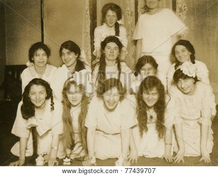 CANADA - CIRCA 1950s: An antique photo shows portrait of a a group of young girls.