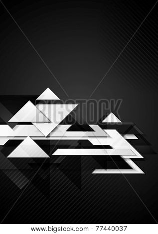 Dark hi-tech geometric background with triangles. Vector design