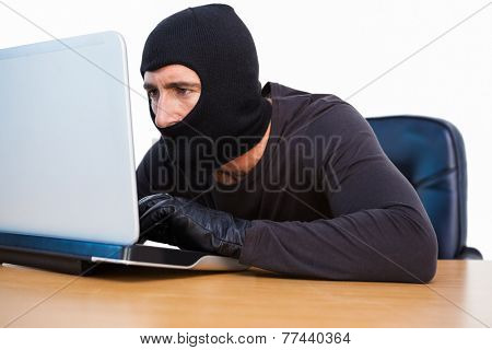 Burglar with balaclava hacking a laptop on white background