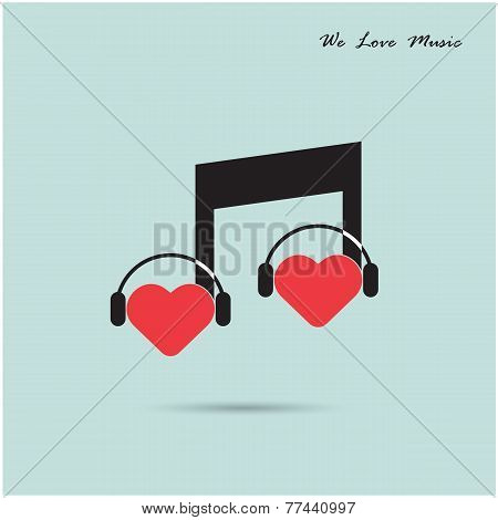 Creative Music Note Sign Icon And Silhouette Heart Symbol .