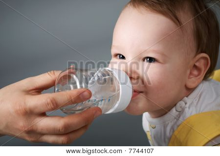 Baby and the bottle.