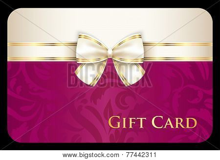 Luxury Scarlet Gift Card With Cream Diagonal Ribbon