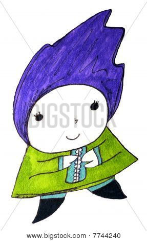 Cute Character With Purple Blue Hair