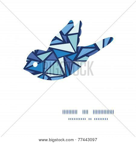 Vector abstract ice chrystals bird silhouette pattern frame