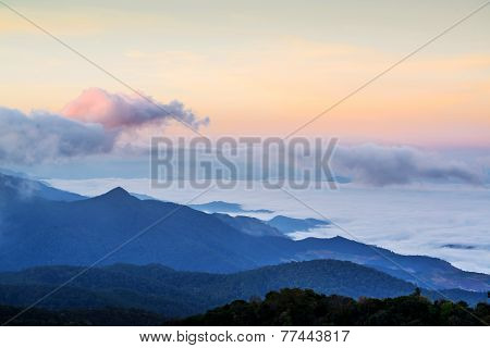 Fog Over The Mountain In Morning, Doi Inthanon National Park, Thailand