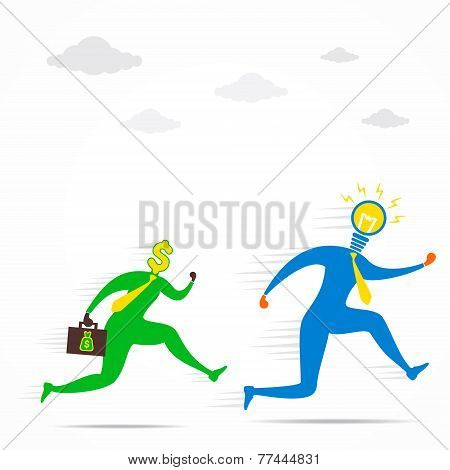 money follow the new idea men concept vector