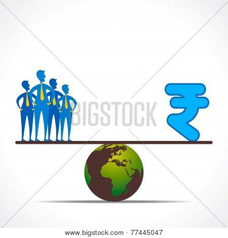 compare people team and rupee design concept vector