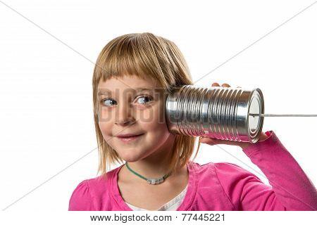 Girl With Tin Can Phone - Listening